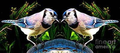 Mixed Media - Mirrored Bird Series Blue Jays Expressionist Effect by Rose Santuci-Sofranko