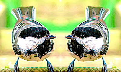 Mixed Media - Mirrored Bird Series Chickadees Expressionist Effect by Rose Santuci-Sofranko