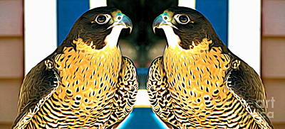 Falcon Mixed Media - Mirrored Bird Series Peregrine Falcons Expressionist Effect by Rose Santuci-Sofranko
