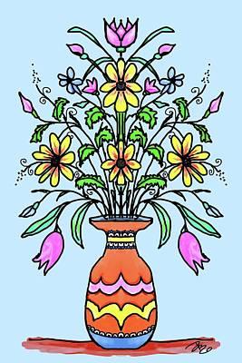 Digital Art - Mirrored Flowers And Vase by Debra Baldwin