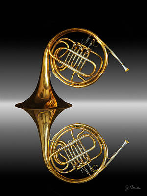 French Horn Photograph - Mirrored Horn by Joe Bonita