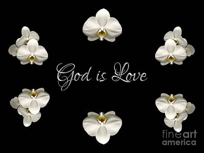 Art Print featuring the photograph Mirrored Orchids Framing God Is Love by Rose Santuci-Sofranko