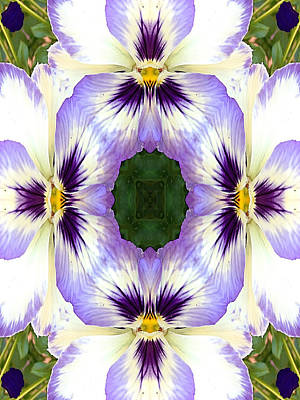 Mirrored Pansies - Vertical Print by Jon Woodhams