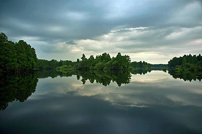 Photograph - Mirrored River At Sunset by Carolyn Marshall