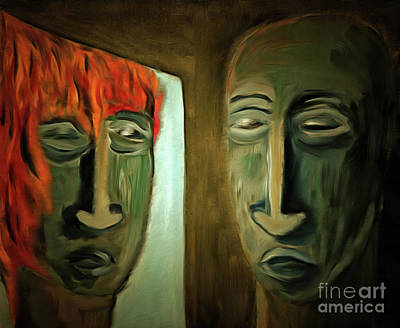 Photograph - Mirroring - Burning Head by Michal Boubin