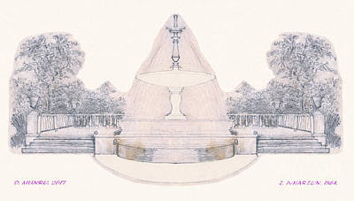 Drawing - Mirrors James Wharton Fountain by Donna L Munro