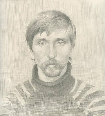 Racei Drawing - Misha. 1985 by Yuri Yudaev