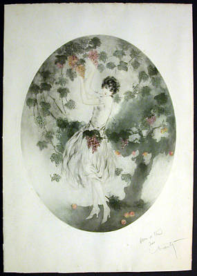 Grapes Art Deco Painting - Miss California by Louis Icart