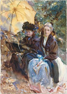 Eliza Painting - Miss Eliza Wedgwood And Miss Sargent Sketching by John Singer Sargent