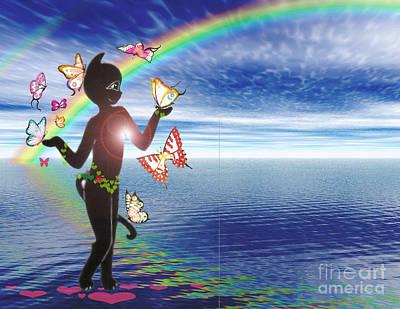 Miss Fifi And The Rainbow Art Print by Silvia  Duran