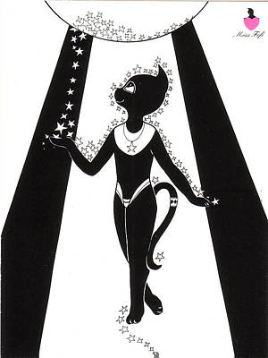Miss Fifi Cosmic Kitten Art Print by Silvia  Duran