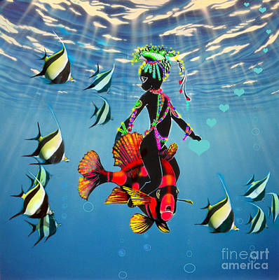 Miss Fifi New Friends In The Ocean Art Print by Silvia  Duran