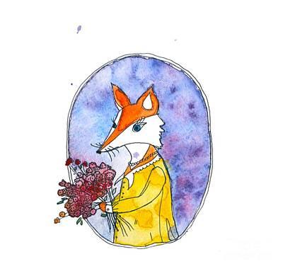 Miss Foxie Watercolor Illustration Original