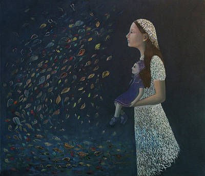 Painting - Miss Frost Watching The Autumn Dance by Tone Aanderaa