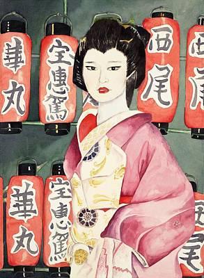 Miss Hanamaru At Osaka Festival Art Print by Judy Swerlick