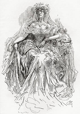Great Expectations Drawing - Miss Havisham. Illustration By Harry by Vintage Design Pics