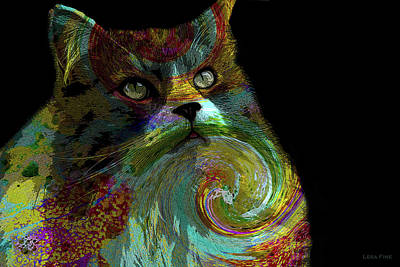 Featured Images Mixed Media - Miss Kitty Portrait Pop Art by Lesa Fine