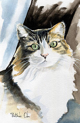 Painting - Miss Lucy - Cat Portrait by Dora Hathazi Mendes