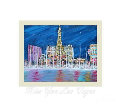 Painting - Miss You Las Vegas Card 22.6 by Oksana Semenchenko