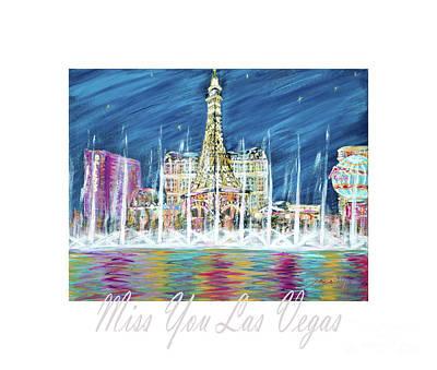 Painting - Miss You Las Vegas Card13.6 by Oksana Semenchenko