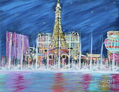 Painting - Miss You Las Vegas Greeting Card 13.3 by Oksana Semenchenko