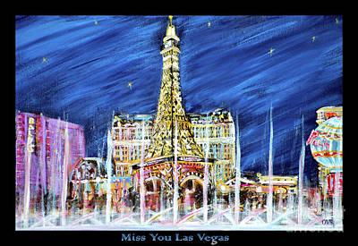 Painting - Miss You Las Vegas Vivid Color by Oksana Semenchenko