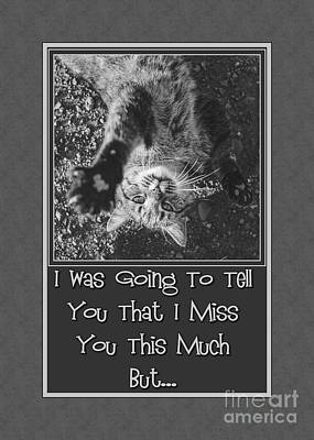 Digital Art - Miss You Stretching Kitty by JH Designs
