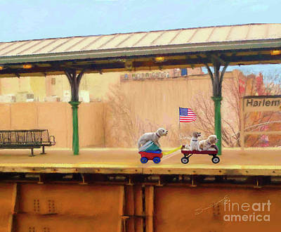 Wagon Train Art Print by Susan  Lipschutz