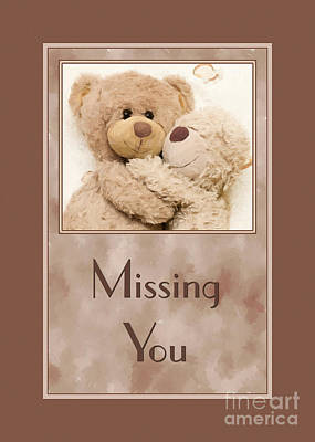 Digital Art - Missing You Cuddle Bears by JH Designs