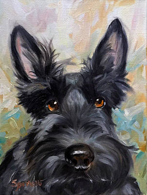 Scottish Terrier Painting - Missing You by Mary Sparrow