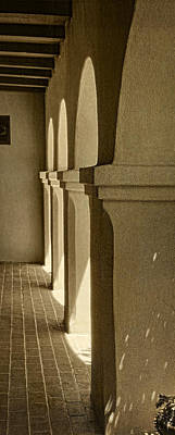 Photograph - Mission Arches Pano Sepia by Theo O'Connor
