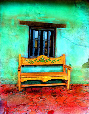 Art Print featuring the digital art Mission Bench by Timothy Bulone