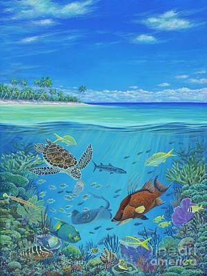 Ocean Turtle Painting - Mission Blue by Danielle Perry
