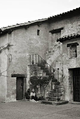 Photograph - Mission Carmel Black And White by Renee Hong