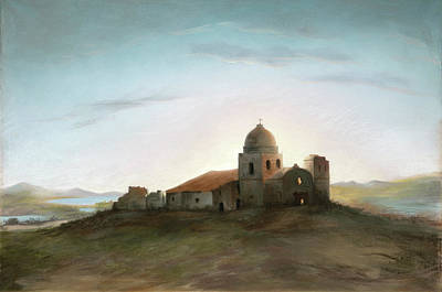 Carmel Mission Painting - Mission Carmel by MotionAge Designs