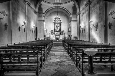 Spanish Mission Photograph - Mission Concepcion Chapel Bw by Joan Carroll