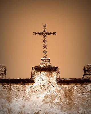 Photograph - Mission Concepcion - Cross - Sepia by Beth Vincent