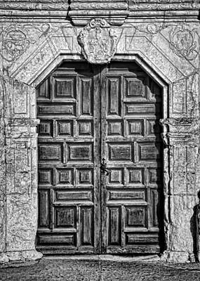 Mission Concepcion Doors - Bw Art Print by Stephen Stookey