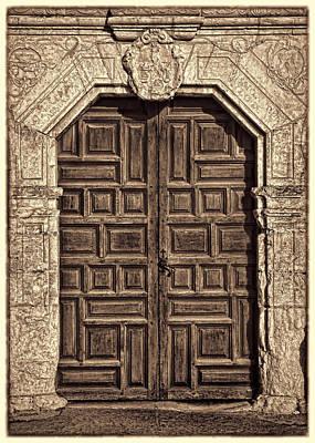 Mission Concepcion Doors - Sepia W Border Art Print