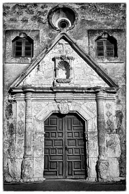 Old Door Photograph - Mission Concepcion Entrance - Bw W Border by Stephen Stookey