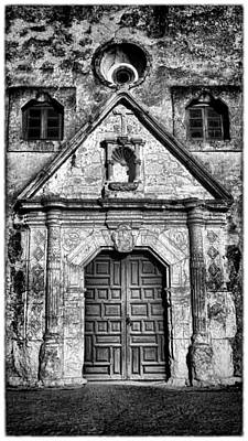 Mission Concepcion Front - Classic Bw W Border Print by Stephen Stookey
