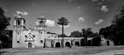 Modern Man Surf - Mission Concepcion Panoramic - bw by Stephen Stookey