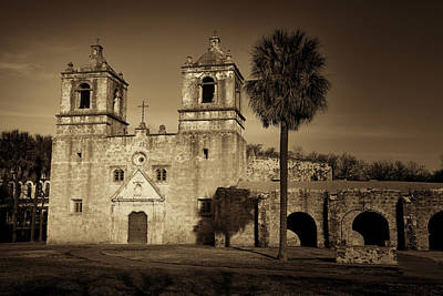 Spanish Mission Photograph - Mission Concepcion -- Sepia by Stephen Stookey