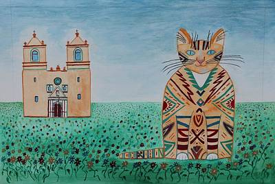 Painting - Mission Concepcion Cat by Vera Smith