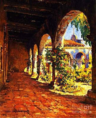Pd Painting - Mission Corridor San Juan Capistrano by Pg Reproductions
