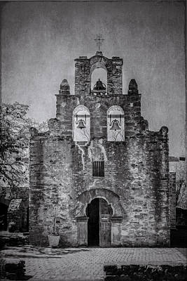 Photograph - Mission Espada Bw by Teresa Wilson