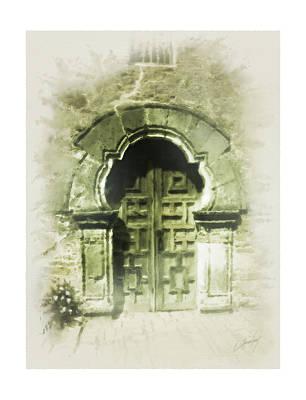 Mission Espada Chapel Door Art Print by Cliff Hawley