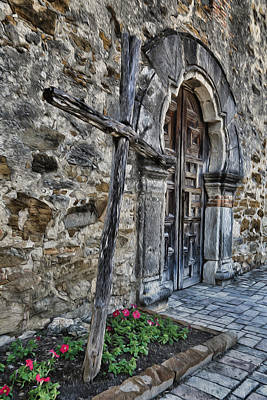 Spanish Mission Photograph - Mission Espada Cross And Door by Stephen Stookey