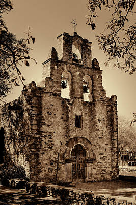 Stone Buildings Photograph - Mission Espada -- Sepia by Stephen Stookey