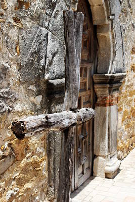 Photograph - Mission Espada - Wooden Cross by Beth Vincent